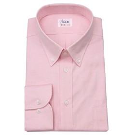 ワイシャツ メンズ長袖(ドレスシャツ)ボタンダウン ピンクピンオックス 軽井沢シャツ [A10KZB406] ゆったり型
