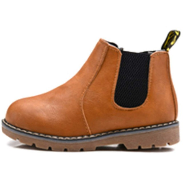 [GuDeKe] (グードコ) ガールズ ブーツ キッズ 革靴 防寒ブーツ 女の子 ショートブーツ あったか ファスナー付く 防滑 フォーマル 通学 ブラウン内寸14CM