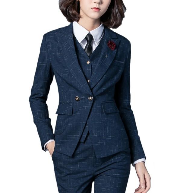スーツ パンツスーツ 2点セット セットアップ テーラードジャケット 事務服 レディース ビジネス フォーマル 通勤 オフィス OL 就活 入学式 卒業式(ahk007-Darkblue/2XL)