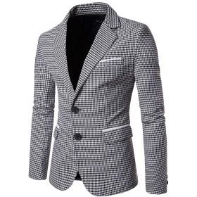 [CAIXINGYI]男性 2バックル スーツ 千鳥格子 コート ファッション カジュアル 短い段落 スーツ 上着 メンズ 大きいサイズ 紳士服 (L, 白)