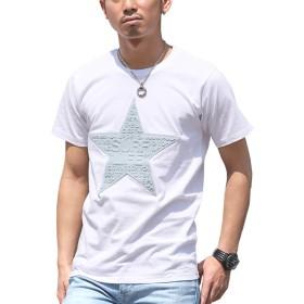 LUX STYLE(ラグスタイル) Tシャツ メンズ デニム ロゴ プリント サーフ 半袖 星柄 夏 ホワイトM