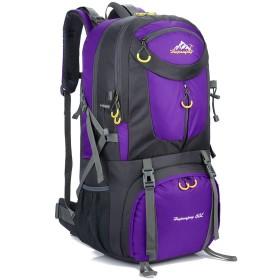 Phoenix Ikki 40L 50L 60L 全8色 3サイズ対応 充実なポケット 撥水素材 通気性良 旅行 遠足 登山 キャンプ リュックサック バックパック レインカバー付き パープル 60L