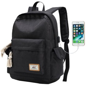YUNiMO バックパック USBポートイヤホンポート 大容量 耐衝撃 PCリュック USB延長コード付き 通勤 通学 旅行 出張 男女兼用 お洒落 多機能バッグ 3色 (黒色)