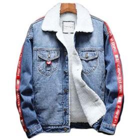 (フッカツ) メンズ ゆったり カジュアル デニムジャケット バイク ジージャン 裏ボア 厚手 大きいサイズ 刺繍 通勤 ユニセックス 秋冬 レッド5XL