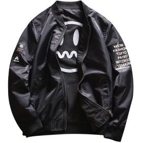IyMoo スタジャン メンズ ジャンパー ブルゾン MA-1 ジャケット 薄手 両面着用 ミリタリージャケット フライトジャケット アウター ma1 ライダース 夏 春秋 ブラック XL