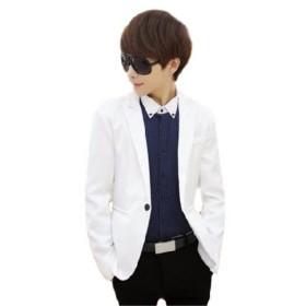 (aristar) おしゃれ着 ジャケット 1つ ボタン メンズ ファッション テーラードジャケット 結婚式 二次会 にも (ホワイト・XL)