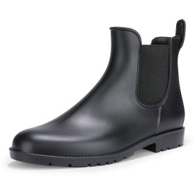 [IDIFU] レディース ファション 疲れない 防水 ラウンドトウ 滑り止め 雨靴 サイドゴア レインブーツ ブラック 23.5 cm
