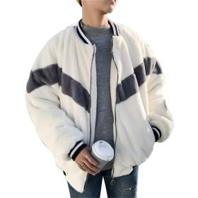 [ユリカー] ムートンコート 防寒ジャケット メンズ ボアコート チェスターコート カシミヤ 切り替え ロング丈 厚手 カジュアル 個性 おしゃれ ふわふわ あんずいろL