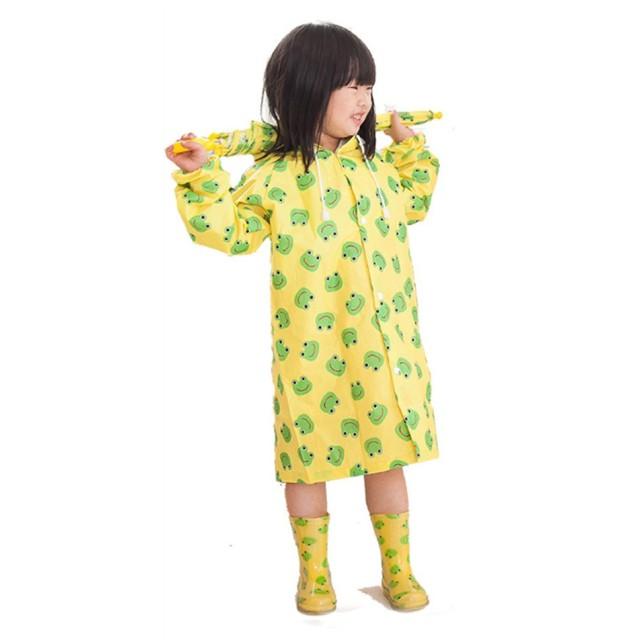 Ymgot キッズ レインコート 雨合羽 女の子 男の子 レインポンチョ カッパ雨具 (S(80~100CM), カエル柄)