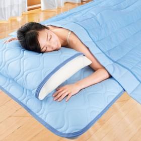 ベルーナ 5つ星機能付きひんやり冷たい冷感軽寝具シリーズ「ファイブスター++」<敷パッド・ケット・枕パッド> ブルー 枕パッド 2枚組接触冷感 冷感寝具 ひんやり 冷感マット 敷きパッド シングル 接触冷感