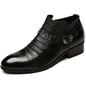 [Flova] [goomix] シークレットブーツ +8cm ウエスタンブーツ メンズ ショートブーツ リングブーツ 脚長 身長アップ 黒 革靴 ヒールアップ ビジネスシューズ ブラック/23.5-26.5cm