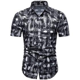 [MANMASTER(マンマスター)]アロハシャツ 花柄シャツ かりゆしウェア 半袖 プリントシャツ ハワイ風 メンズCH568 (M, タイプ4)