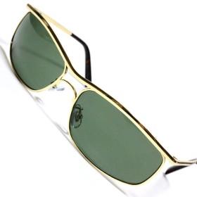 ゴールド×グリーン サングラス 度なしメガネ ファッションメガネ めがね 眼鏡 メンズ レディース 金ブチ 丸 四角 透明 色付き オラオラ 大きい 軽い ゴルフ 運転 車 釣り 登山 男性 いかつい uvカット 紫外線カット 1040110-F-081