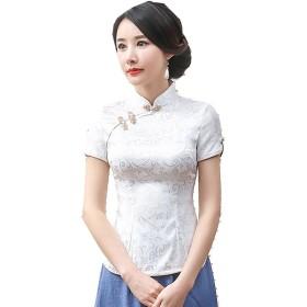 (上海物語)Shanghai Story チャイナトプス 民族風 チャイナ服 花柄 ブラウス トップス 中華 上着 女性用 XL 半袖 ホワイト A0052