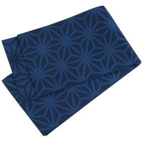 浴衣帯 麻の葉柄 半幅帯 おしゃれ帯 日本製 (D紺)