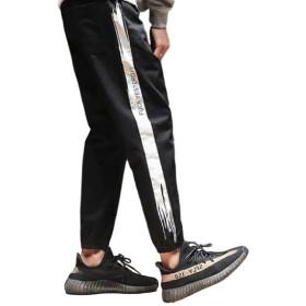 Dere (デーレ) メンズ ズボン パンツ サイドライン スウェット ジャージ ルームウェア 部屋着 黒(ライン赤) 黒(ライン白) (L, ブラック(ホワイト))