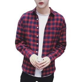 YOUTHUP シャツ チェックシャツ メンズ チェック 綿 長袖 上着 格子 ボタン ブロック S-3XL スリム 春 秋 薄手 カジュアル アメカジ 3色展開
