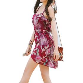 [Iypurkmn] 水着 レディース 体型カバー タンキニ 3点セット 可愛い ビキニ フィットネス 海外旅行 水着 女性 温泉 (ワイン, XXL)