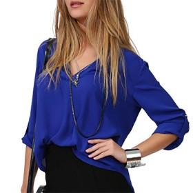 Honghu レディース シャツ Vネック ボタン 多色 大きいサイズ ダークブルー 5XL 1PC