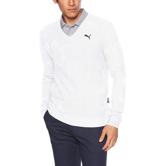 [プーマゴルフ] ゴルフ カモ Vネック セーター 923765 [メンズ] ブライトホワイト (03) 日本 XL (日本サイズXL相当)
