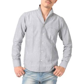 LUX STYLE(ラグスタイル) シャツ メンズ イタリアンカラー トップス コットン 無地 グレーL