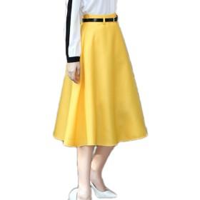 (エンジェルムーン) AngelMoon カラースカート ロング ミモレ丈 フレア チノスカート Aライン レディース (L, 黄色)