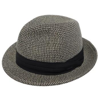 帽子 大きいサイズ ハット ストローハット 麦わら帽子 ビッグサイズ 61cm (BLK-97)