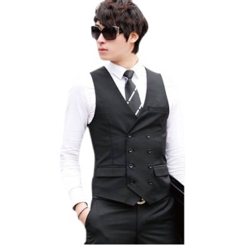 Eiza® メンズ ベスト フォーマル ビジネス スーツ ダブル ボタン ジレ 紳士 e431 (XL, ブラック)