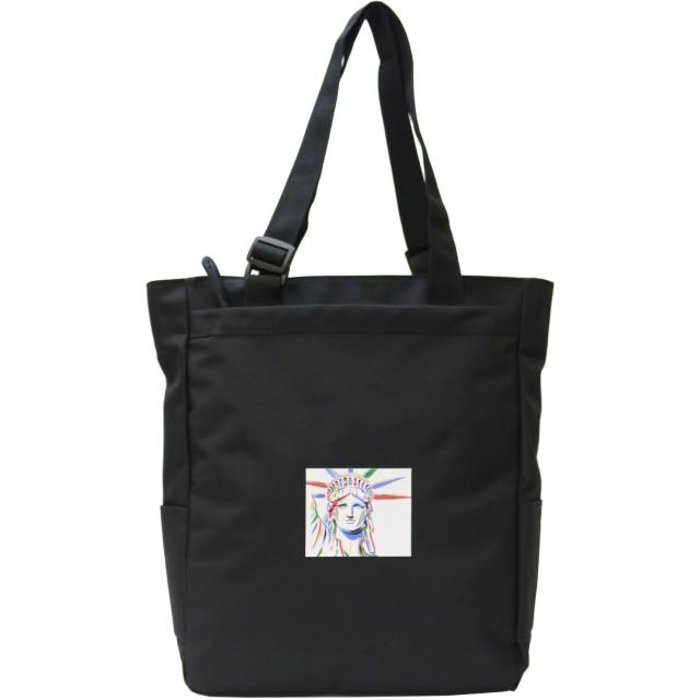 プラスエイチ(Plus H) トートバッグ カワセミ 自由の女神 ウィスコンシン 持ち手調節可能 メンズ レディース PH8329 (ブラック・自由の女神)