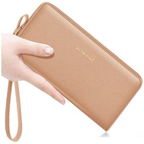 8HAOWENJU 財布、レディースハンドバッグ、ファッションレザーロングクラッチ、多機能クロスハンドクラッチ 最高の贈り物 リーダー、父親、彼氏への最高の贈り物 (Color : Apricot)
