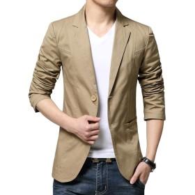 JHIJSC ジャケット メンズ スーツ テーラードジャケット ビジネス カジュアル 綿 大きいサイズ (カーキ, XXL)