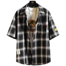 Lasher シャツ チェック柄 ゆったり メンズシャツ 長袖 半袖 カジュアル フード付き パーカー レイヤード 春夏秋 大きいサイズ