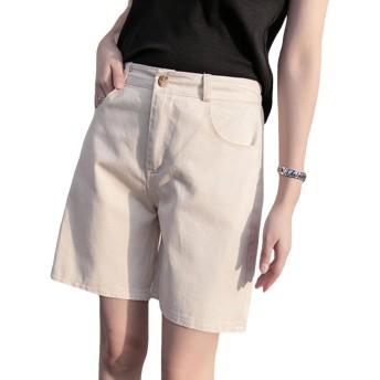 S-XINY レディース ショートパンツ 短パン 綿 無地 夏 おしゃれ カジュアル 大きいサイズ (ベージュ, 3XL)