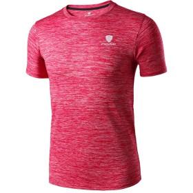 Sillictor Tシャツ メンズ 半袖 無地 スポーツ シャツ 通気 速乾 吸汗 防臭 UVカット FN25-レッド L