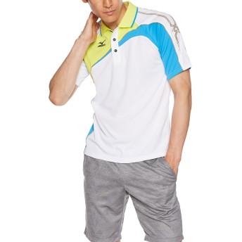 (ミズノ)MIZUNO テニスウェア ゲームシャツ [UNISEX] 62MA5015 01 ホワイト×グリーン×ブルー S