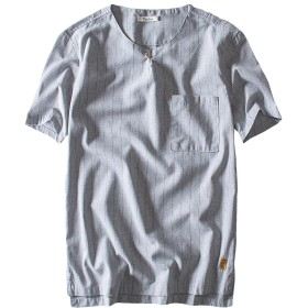 メンズ tシャツ リネン ストライプ柄 半袖 無地 丸首 麻綿 薄手 おしゃれ Tシャツ シンプル カジュアル ゆったり 通気抜群 夏用