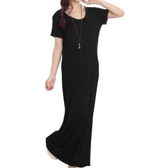 大きいサイズ レディース マキシ丈ワンピース 半袖ワンピ 黒 Tシャツワンピ LL 3L 4L 5L 6L (20889) ブラック LL