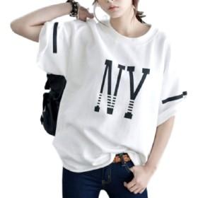 [ドナリー]Tシャツ 五分袖 ニューヨーク ロゴ入り レディース (ホワイト, M)