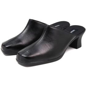 (ルチアノ バレンチノ) LUCIANO VALENTINO ITALY 吸湿 発熱 日本製 ミュール レディース 歩きやすい 黒 前ふさがり ブラック M