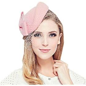 トーク帽 カクテル帽 礼装帽子 ブライダル トークハット ヘッドドレス (ピンク)