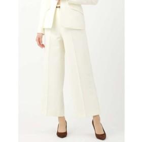 スーツ/レディース/セットアップ/通年/ダブルクロス2WAYストレッチ ワイドクロップドパンツ ホワイト