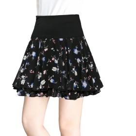 レデース 花柄 スカート プリーツ ミニスカート 春まで待てない ふんわり 可愛い (L, ブラック4)