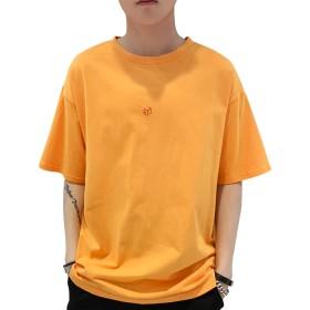 Faunto Tシャツ メンズ 七分袖 五分袖 Tシャツ 半袖 绵100% 吸汗速乾 汗染み防止 柔らかい カジュアル カットソー 夏季対応 夏服 トップス 大サイズ (120イエロー, Large)
