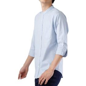 (モノマート) MONO-MART 7分袖 プレミアム 綿麻 リネン シャツ リネンシャツ ストレッチ メンズ (バンドカラー)サックス Lサイズ