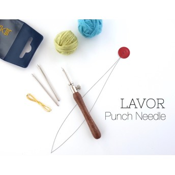 【中細毛糸用*アジャスタブル・パンチニードル(ポルトガル製)】鳥と花の図案セット*【針の長さを変えられます】