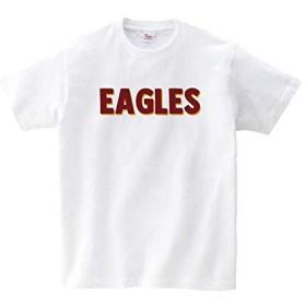 Lindwurm (リンドヴルム) イーグルス Tシャツ 野球応援 グッズ 半袖 eagles ロゴTシャツ Uネック ユニセックス 男女兼用 プリントTシャツ ホワイト XL