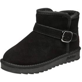 [KENOL] レディース スノーブーツ 女性のショート 暖かい シューズ 美脚 歩きやすい 日常 (24, ブラック)
