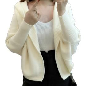 (エンジェルムーン) AngelMoon ニットカーディガン レディース ショート丈 長袖 ドルマンスリーブ フード付き ゆったり ろんぐ アンサンブル アジアン アウター アメリカンイーグル アクリル アメリカ ウール エスニック柄 (M, ホワイト)
