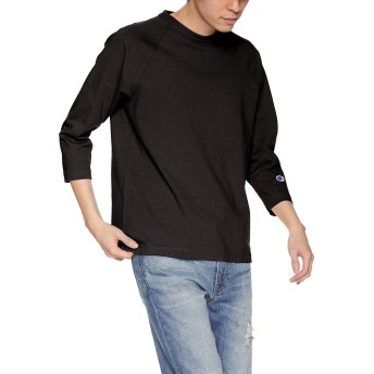 [チャンピオン] T1011 7分袖Tシャツ ワンポイントロゴ C5-P404 メンズ ブラック 日本 XL (日本サイズXL相当)