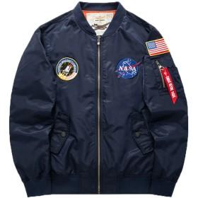 MA-1 エムエーワンジャケット ミリタリフライトジャケット 薄手 メンズ ジャケット 刺繍 大きいサイズ 春秋 M-6XL (ブルー, 2XL)